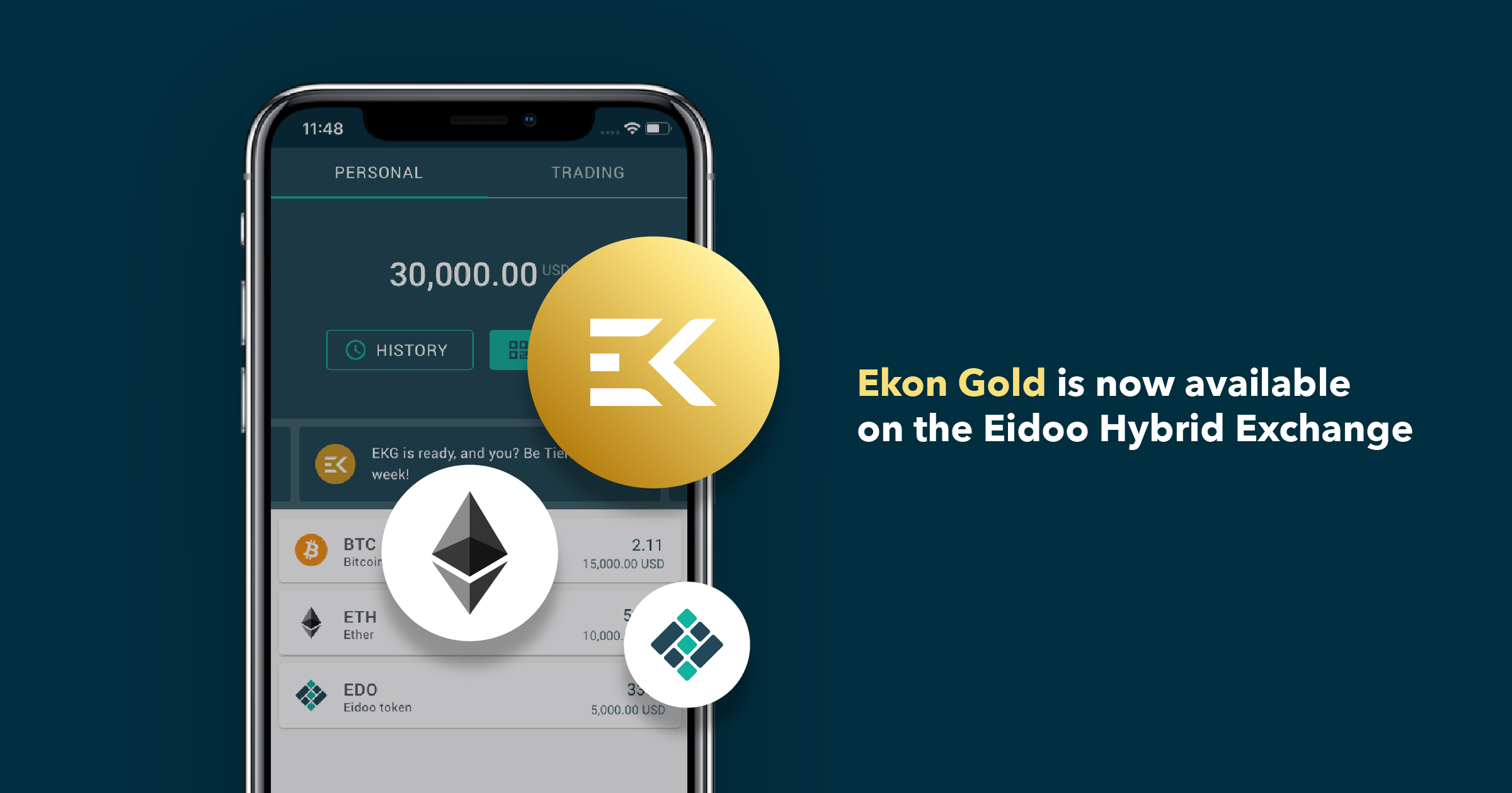 Get Ekon Gold now on the Eidoo Hybrid Exchange