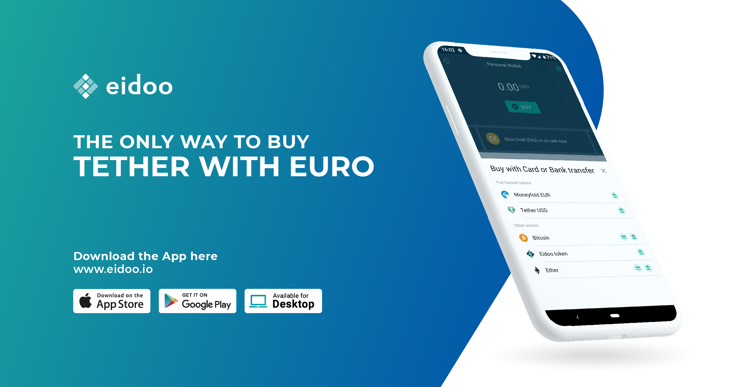Tether USD now available through EUR SEPA only on Eidoo App
