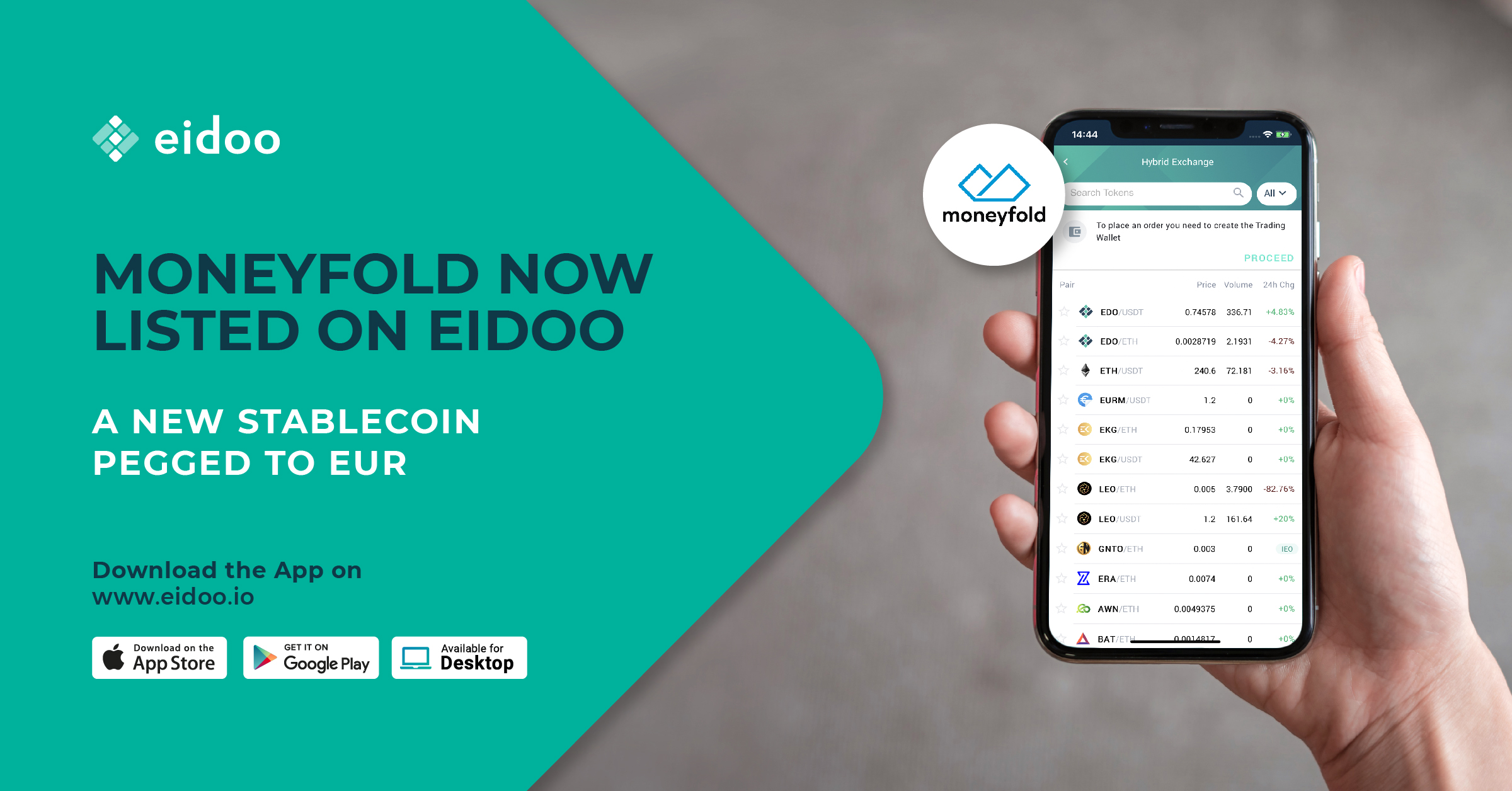 Eidoo lists Moneyfold, a new stablecoin pegged to EUR