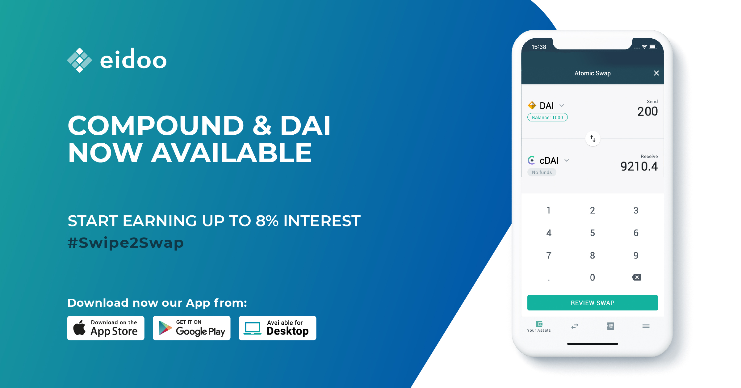 $DAI and COMPOUND now available in the Eidoo Wallet!