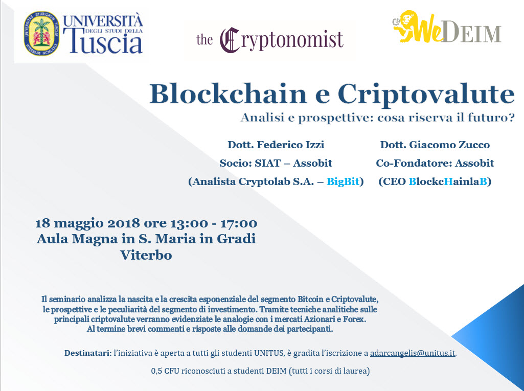 Blockchain e crypto all'Università Tuscia di Viterbo