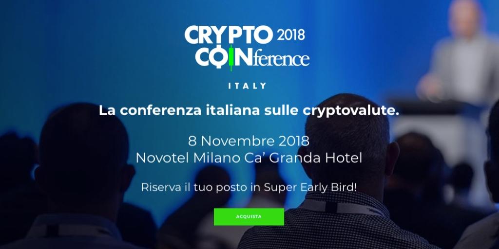 Crypto Coinference 2018, aperta la vendita dei biglietti