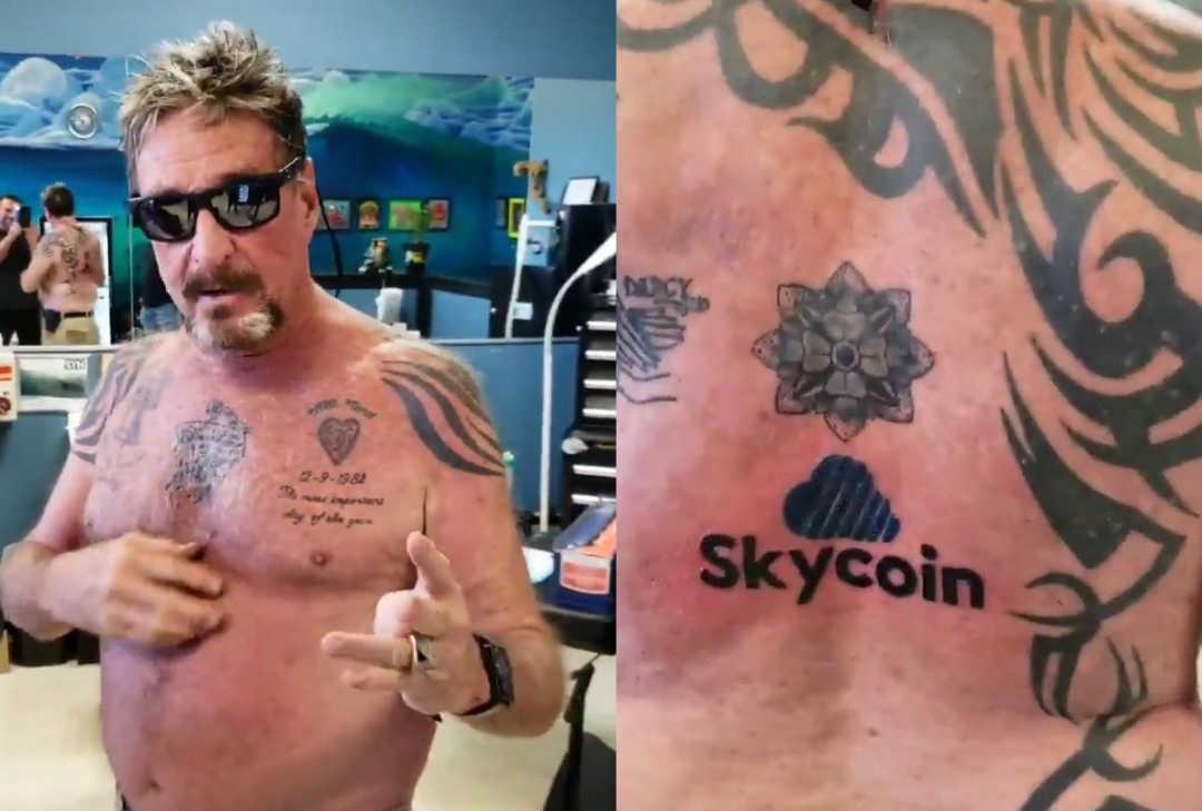 McAfee, un tatuaggio dedicato a Skycoin