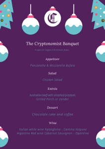 blockchain menu new years dinner