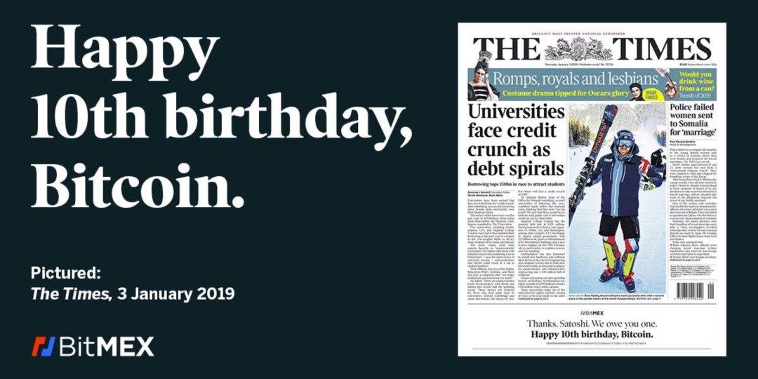 """""""Buon 10° compleanno Bitcoin"""", BitMEX fa gli auguri in prima pagina sul Times"""