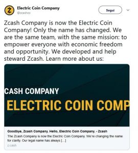 zcash changes name