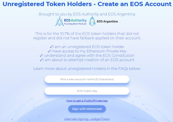 new service unregistered eos token