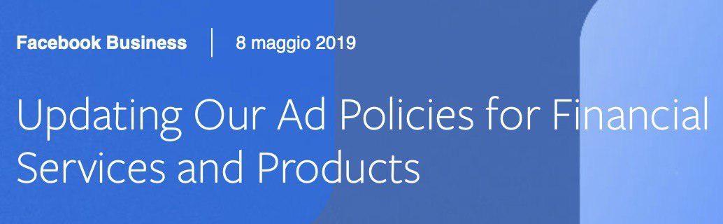 Facebook aggiorni la policy sulle pubblicità