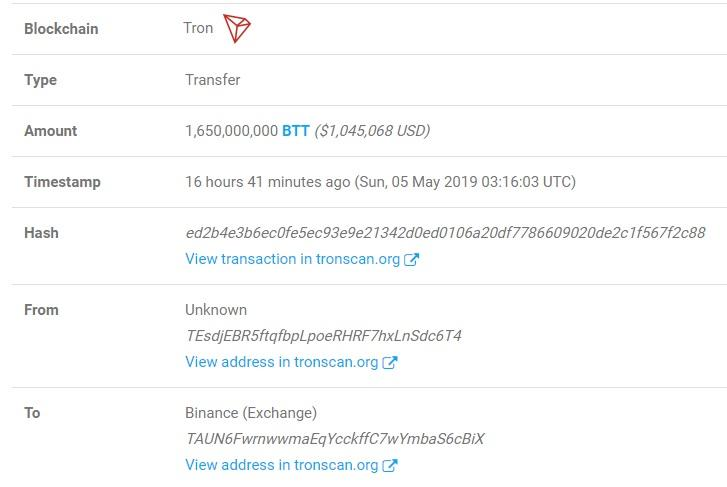 bittorrent btt token transaction