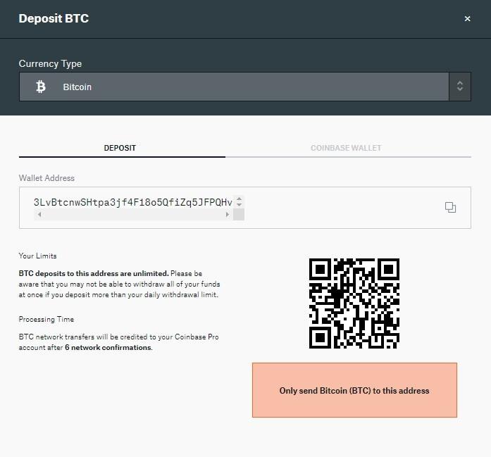 deposito criptovalute coinbase pro