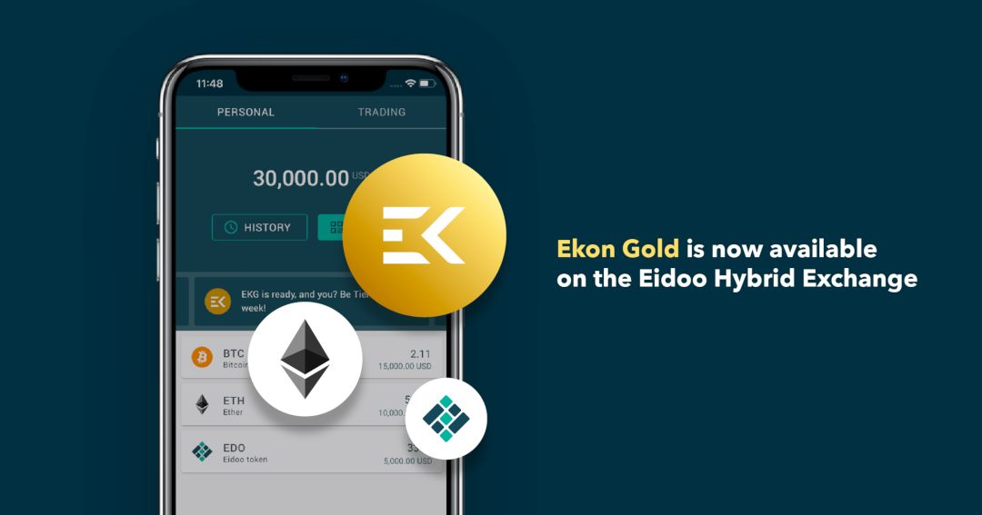 Ekon Gold disponibile ora su Eidoo Hybrid Exchange