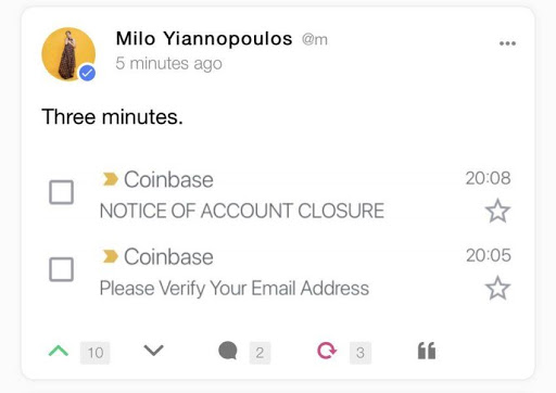 coinbase exchange milo yiannopoulos