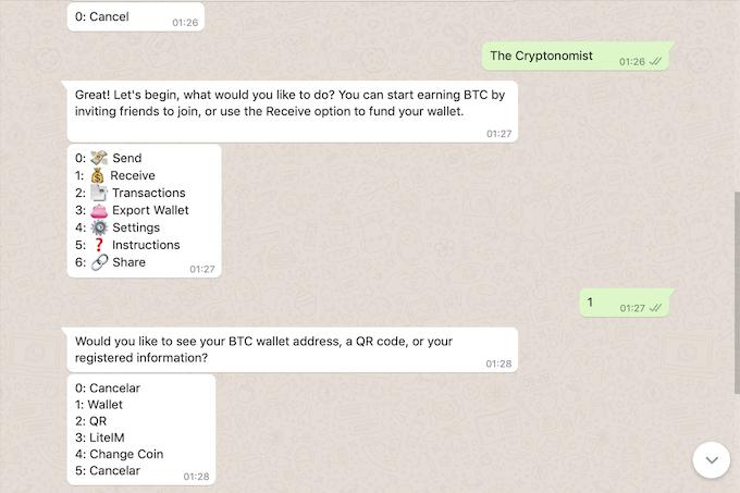 inviare ricevere criptovalute con whatsapp