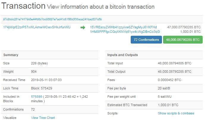 transazione 48.000 bitcoin