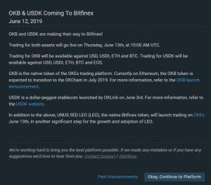 LEO token su Okex e OKB e USDK arrivano su Bitfinex