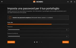 guida wallet monero (xmr): password