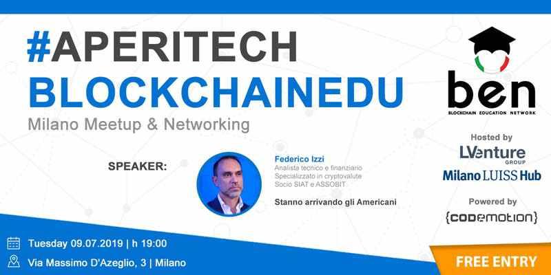 BlockchainEdu: l'aperitech a Milano con Federico Izzi