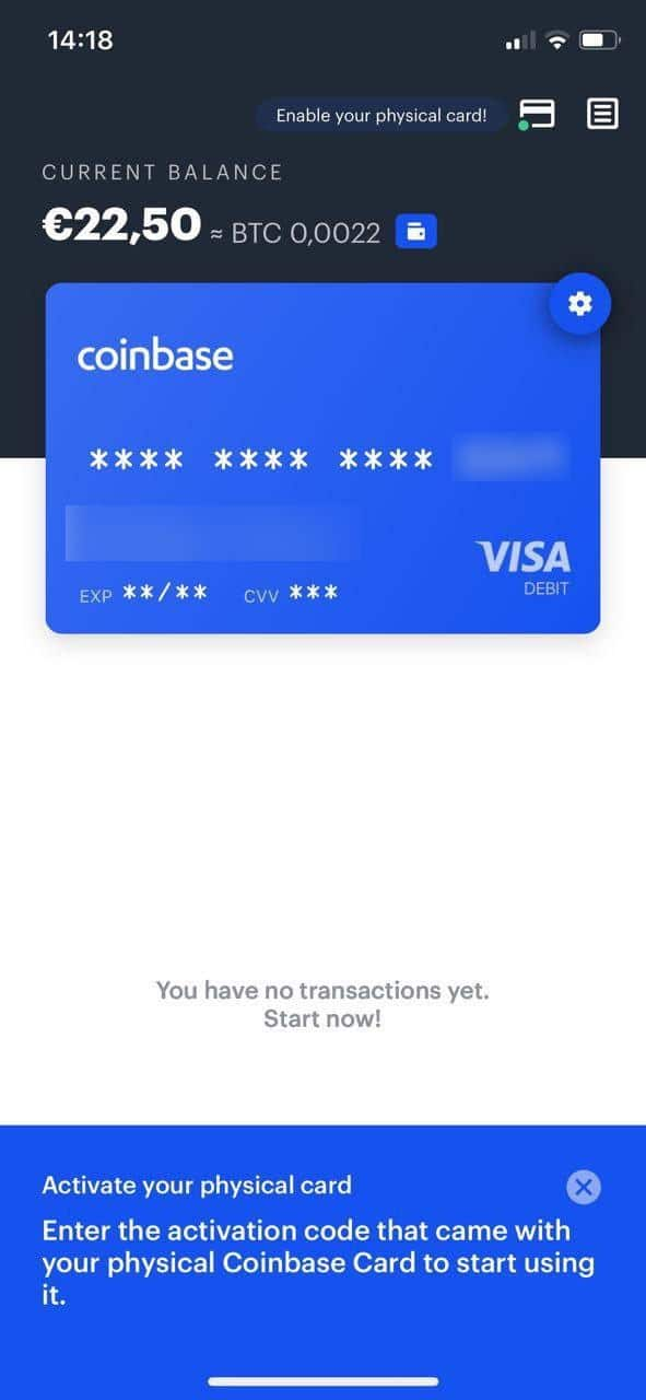 dashboard Coinbase Card