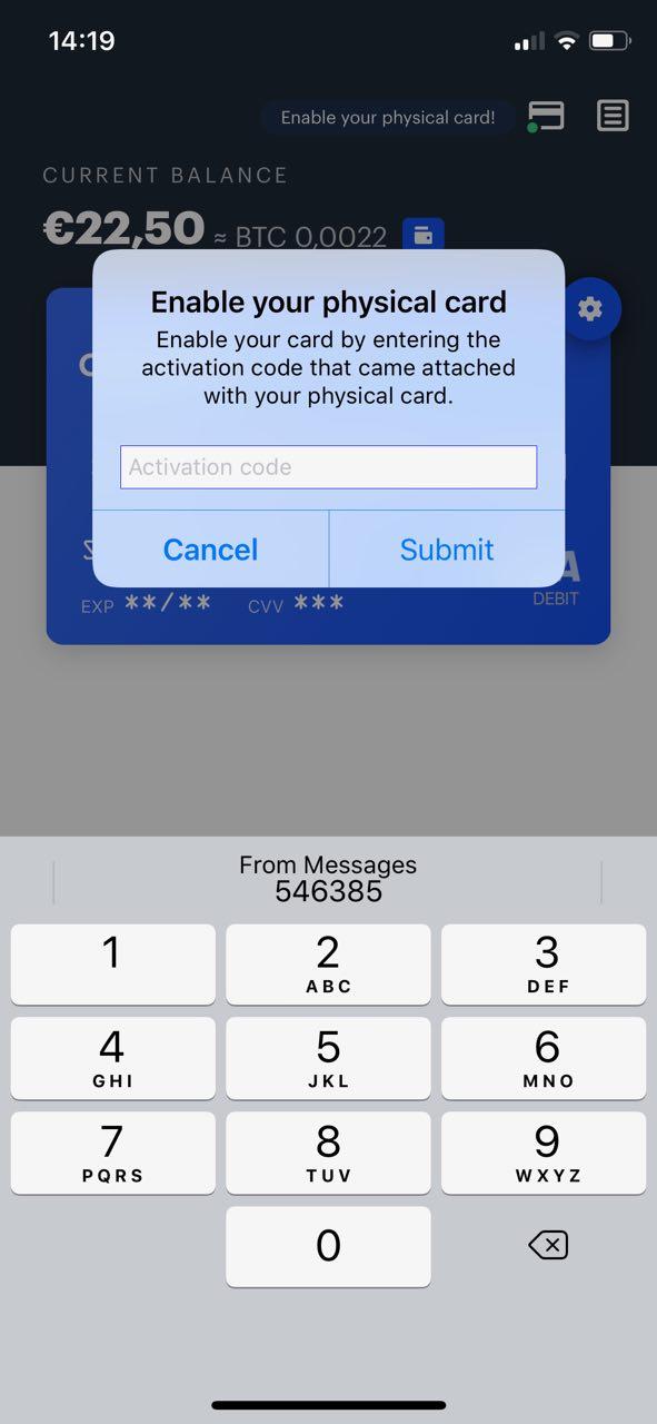 inserire codice pin Coinbase Card