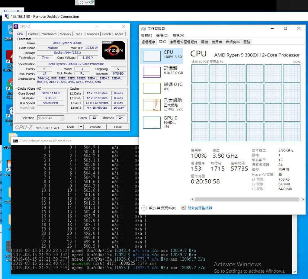 AMD Ryzen 3900x RandomX
