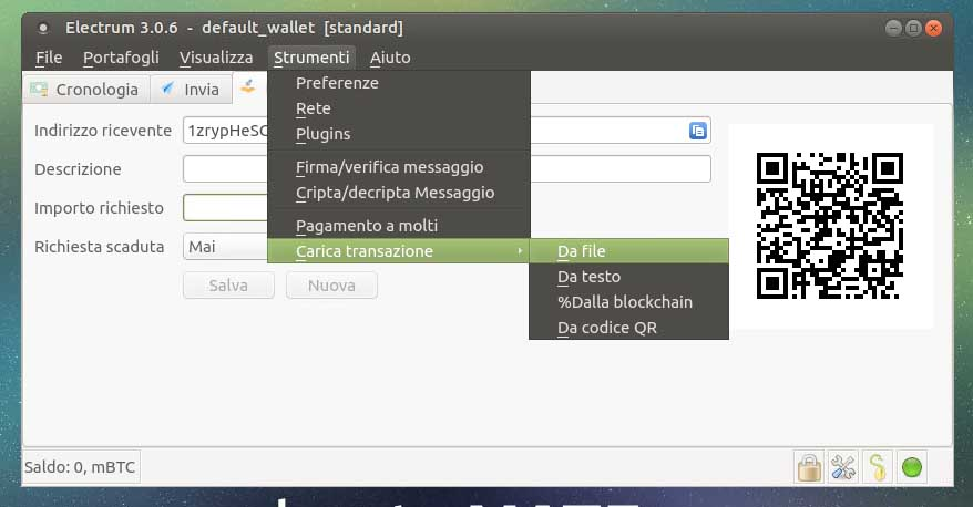 Guida Electrum Bitcoin Wallet Cold storage