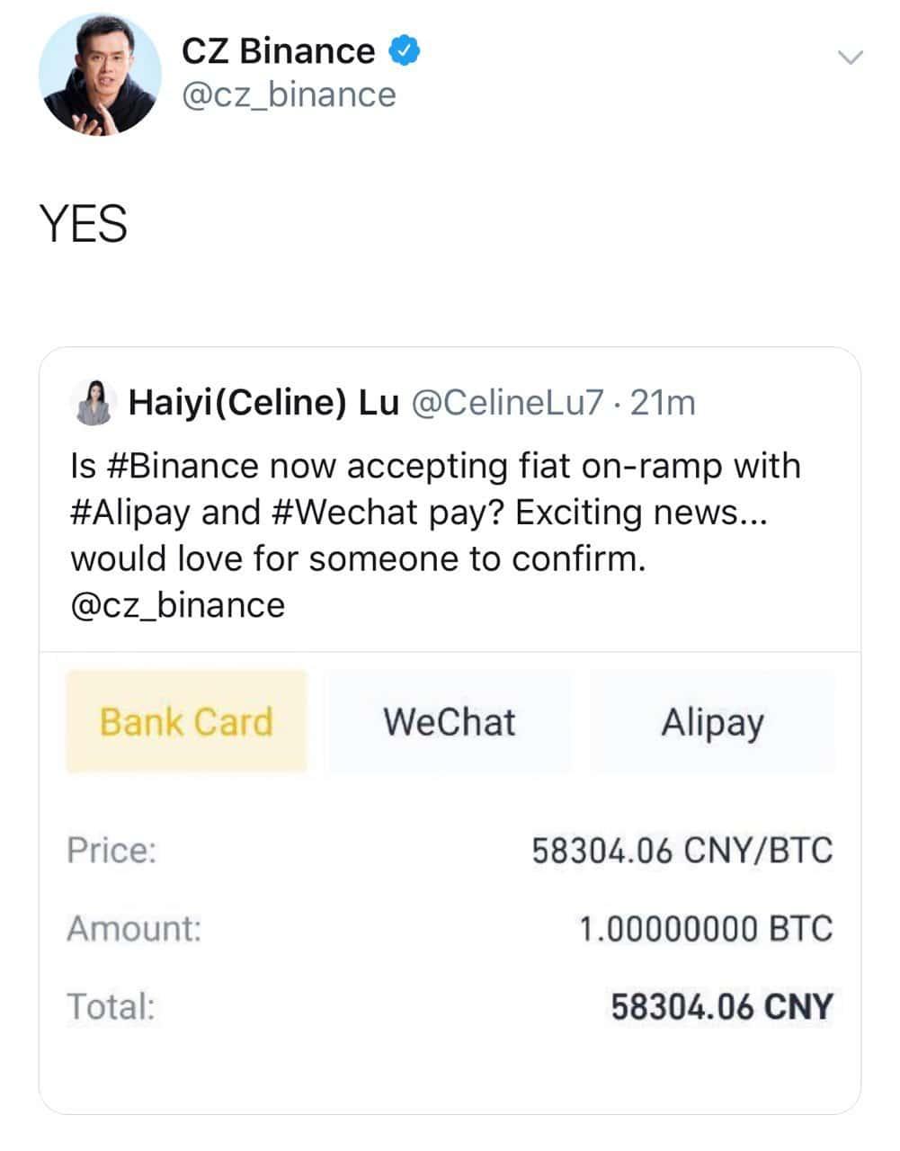binance WeChat alipay
