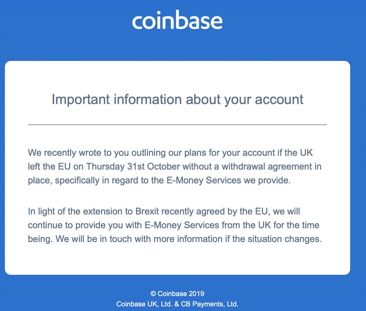 brexit coinbase e-money service