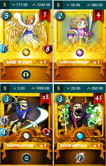 steem monsters blockchain game gold cards