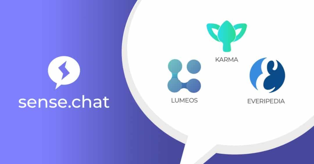 Sense.chat app: Everipedia, Karma e Lumeos aprono nuovi canali