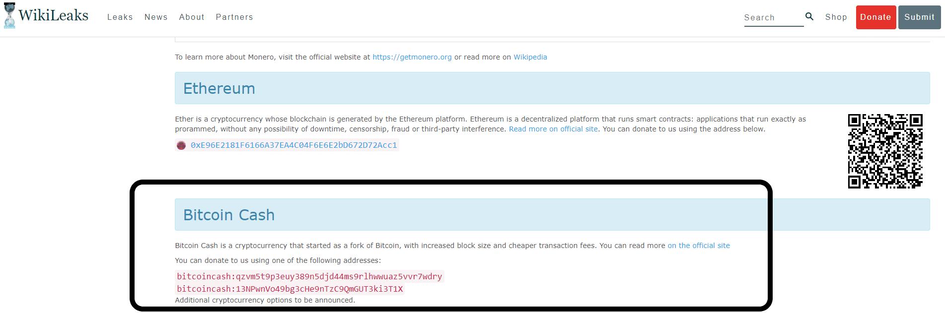 wikileaks bitcoin cash
