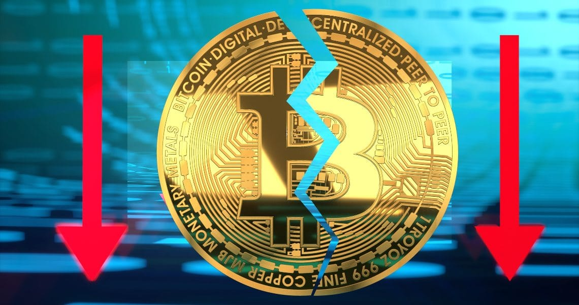 Crollo Bitcoin oggi: – 20% in pochi minuti