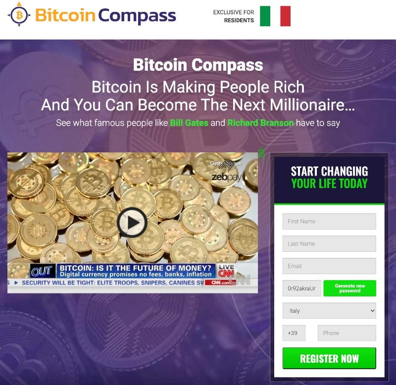 Bitcoin compass screenshot