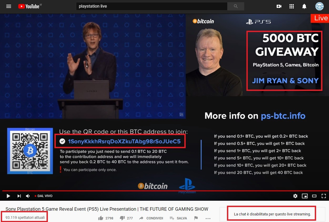 playstation 5 bitcoin scam