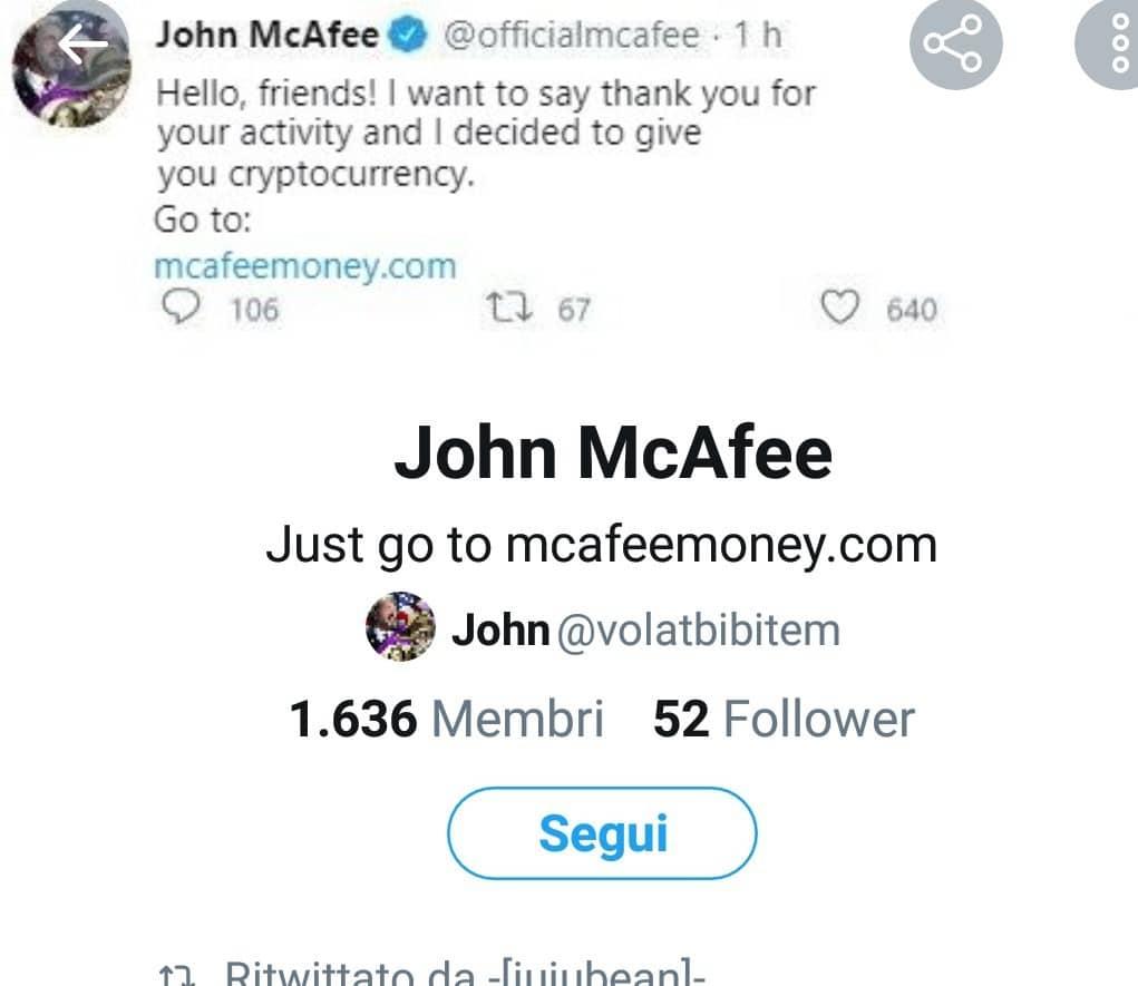mcafee scam twitter
