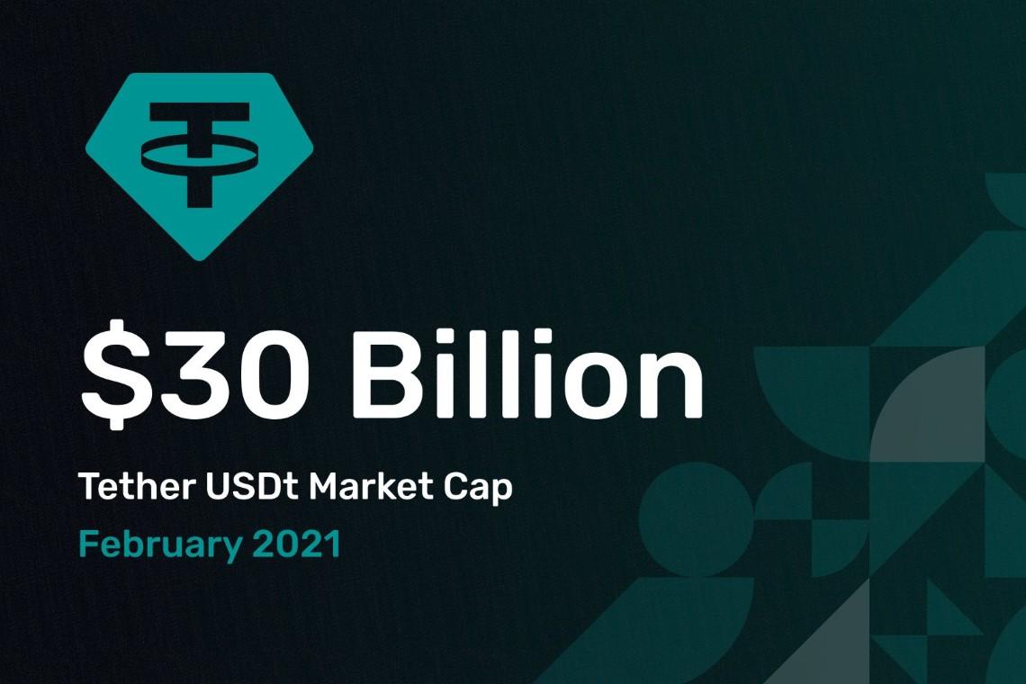 Tether sorpassa i $ 30 miliardi di capitalizzazione